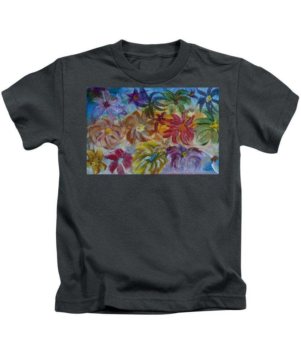 Flowers Kids T-Shirt featuring the painting Blossoms by Donna Walsh