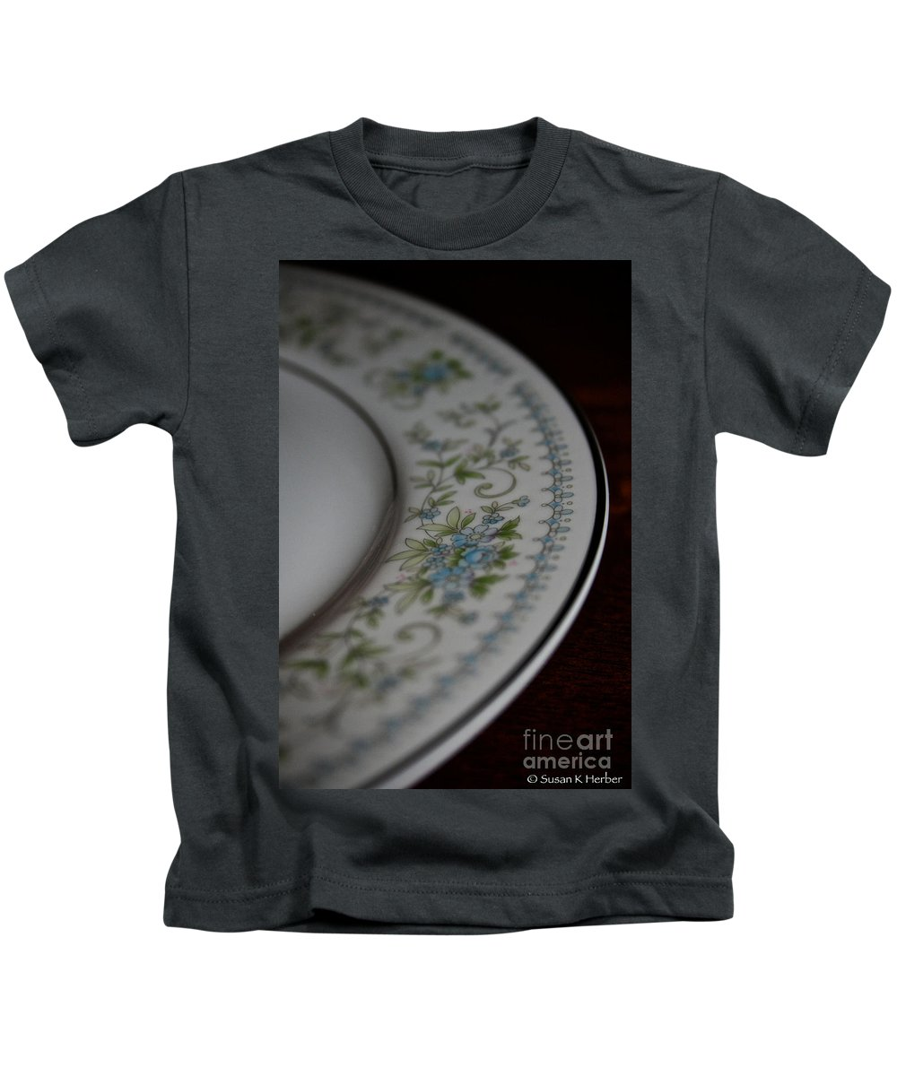 Fine China Kids T-Shirt featuring the photograph Blue Floral by Susan Herber
