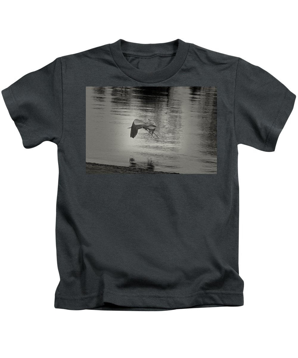 Blue Heron In Platinum Kids T-Shirt featuring the photograph Blue Heron In Platinum by Douglas Barnard