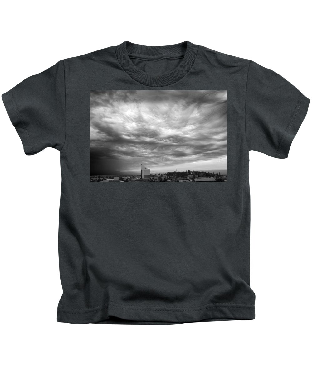 Clouds Kids T-Shirt featuring the photograph Brewing Sky by Robert Caddy