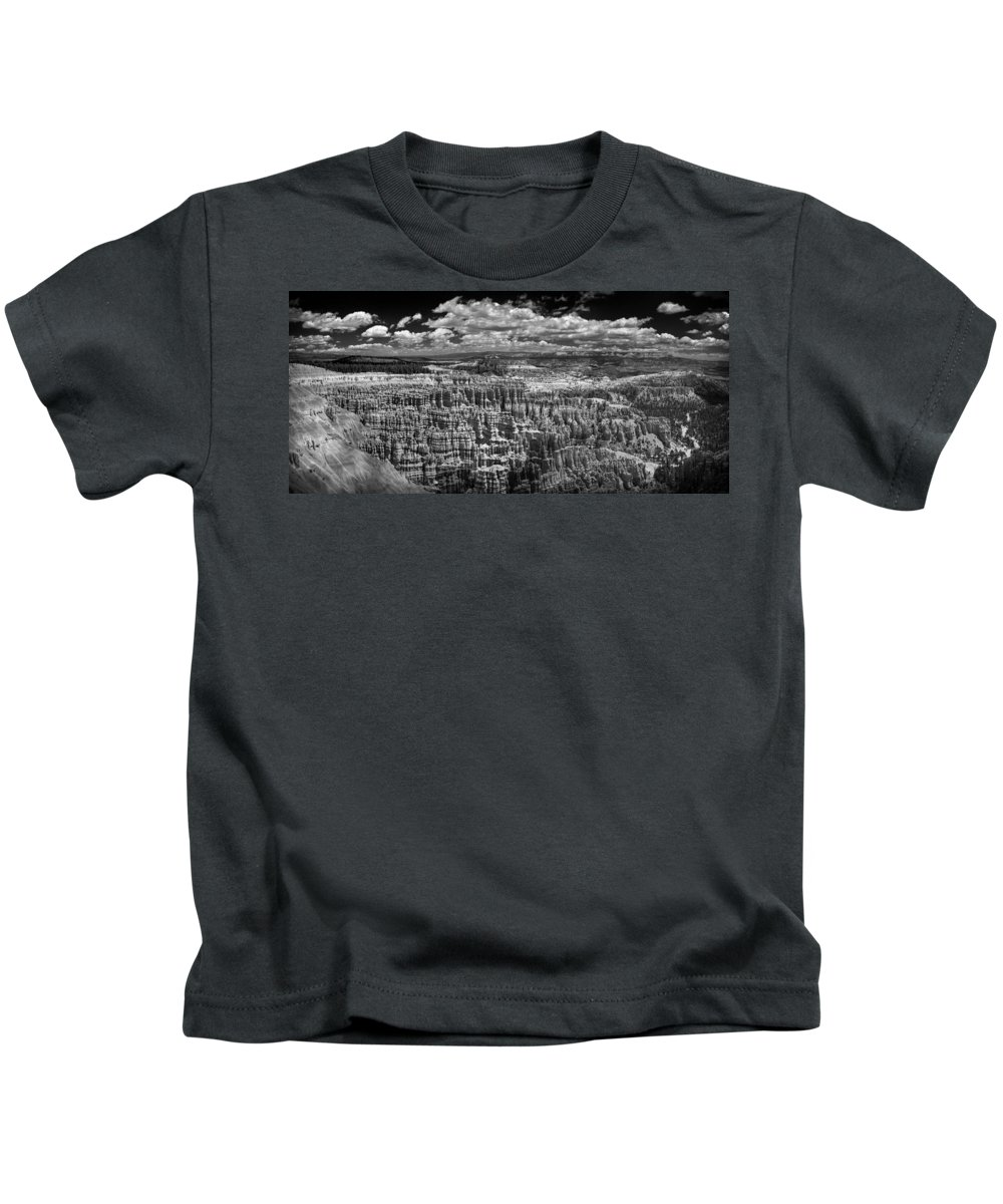 Bryce Kids T-Shirt featuring the photograph Bryce Canyon - Black And White by Larry Carr