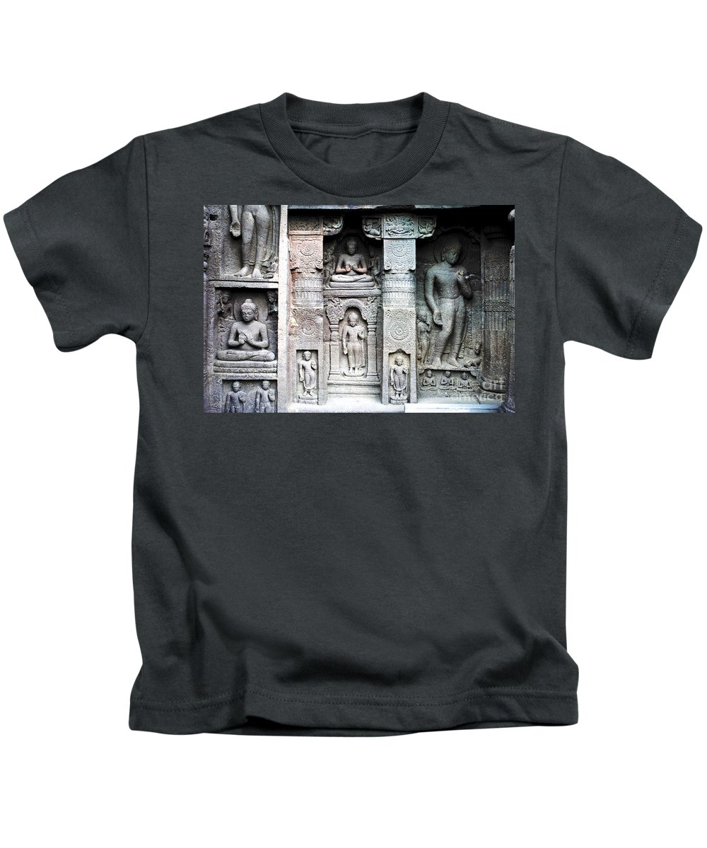 Caves Kids T-Shirt featuring the photograph Buddha Carvings At Ajanta Caves by Sumit Mehndiratta