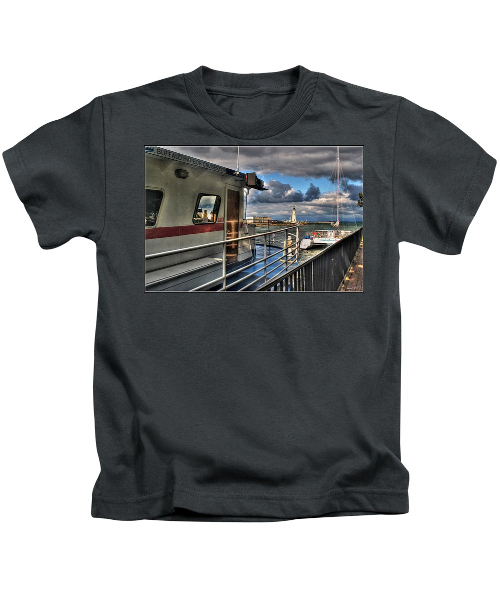 Kids T-Shirt featuring the photograph Buffalo Harbor Cruises by Michael Frank Jr