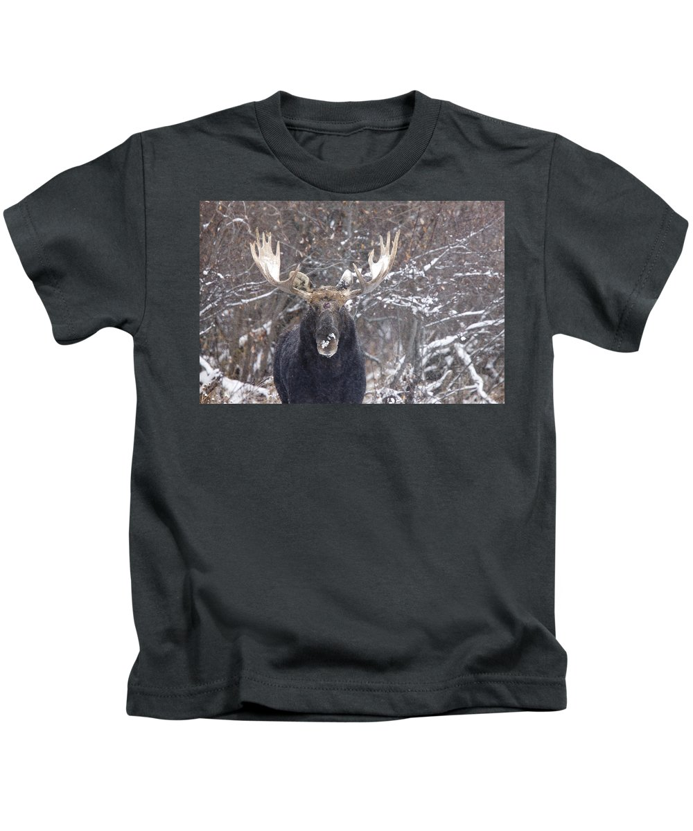Moose Kids T-Shirt featuring the digital art Bull Moose In Winter by Mark Duffy