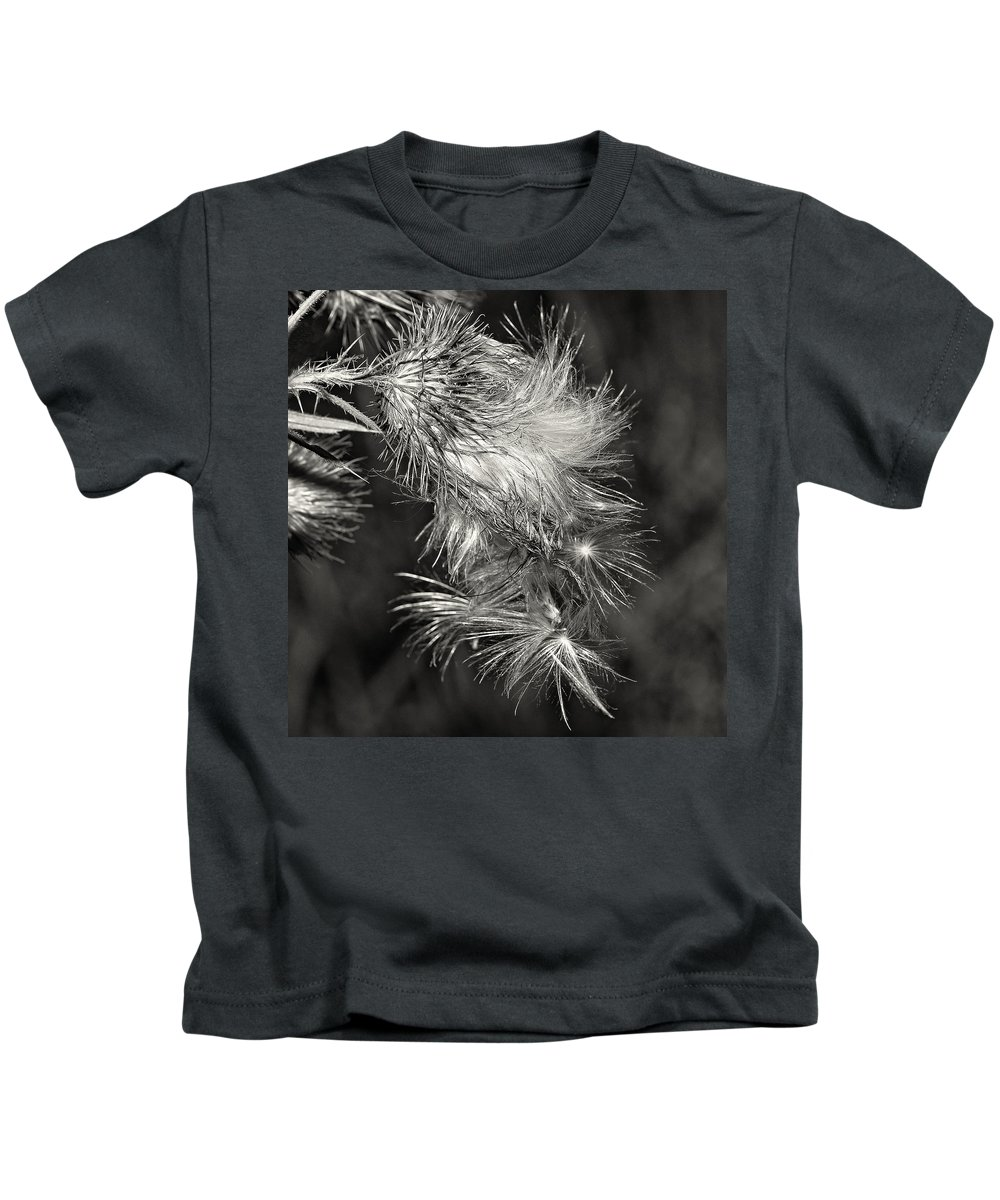 Flowers Kids T-Shirt featuring the photograph Bull Thistle Monochrome by Steve Harrington