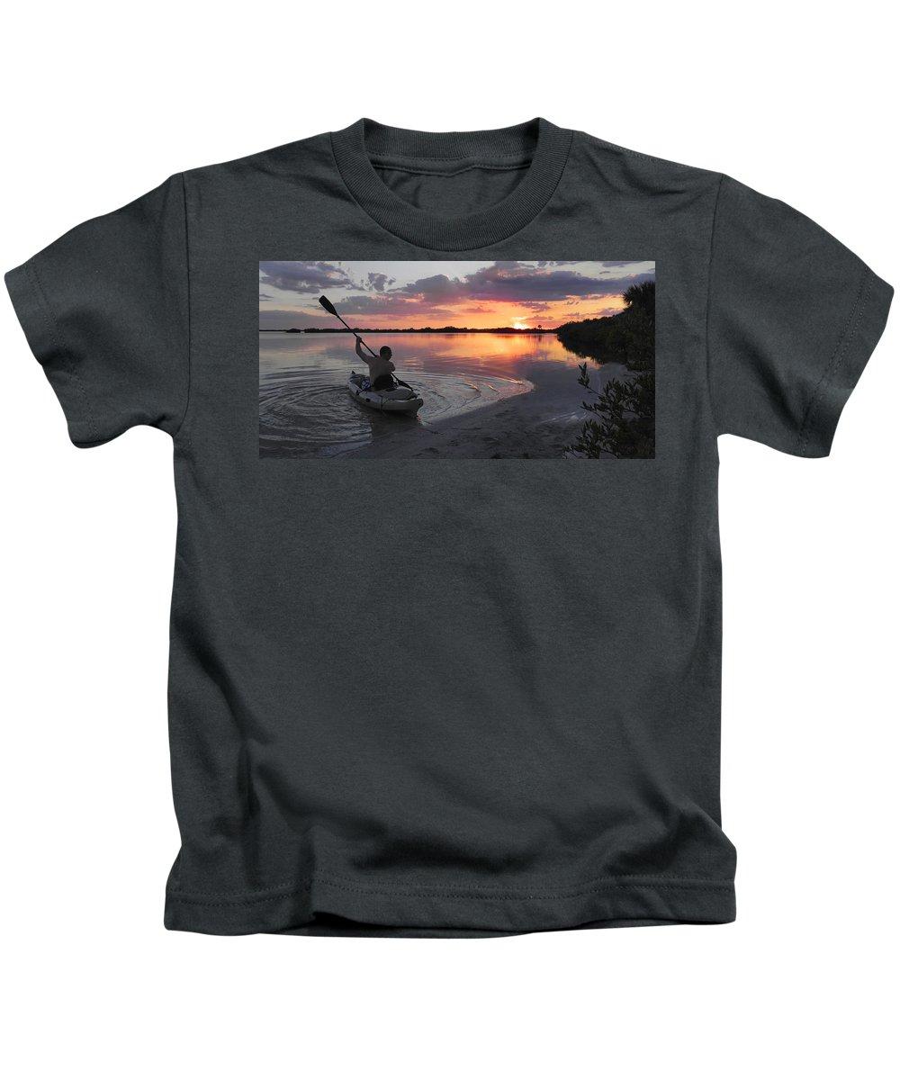 Canoe Kids T-Shirt featuring the photograph Canoe At Sunset by Francesa Miller