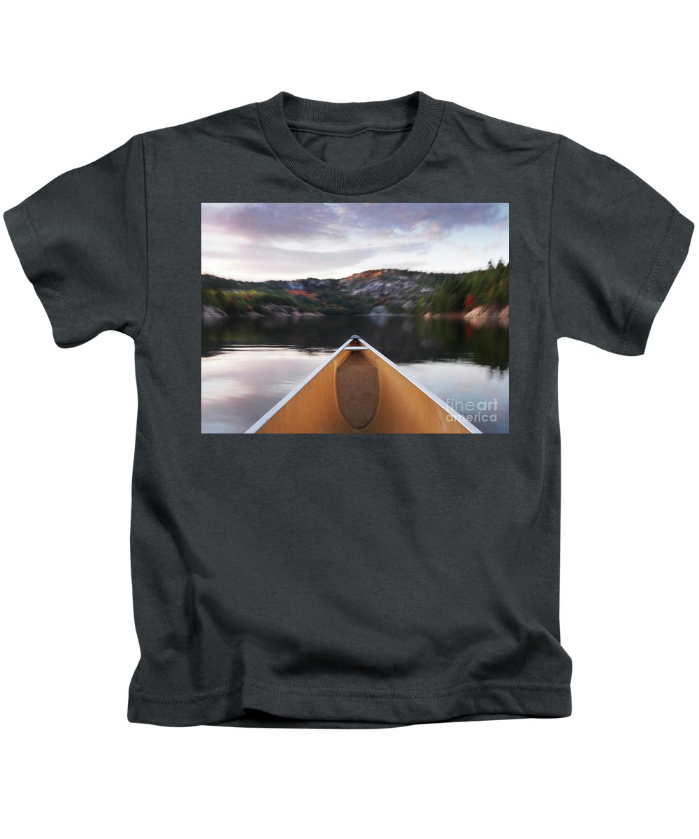 Canoe Kids T-Shirt featuring the photograph Canoeing In Ontario Provincial Park by Oleksiy Maksymenko