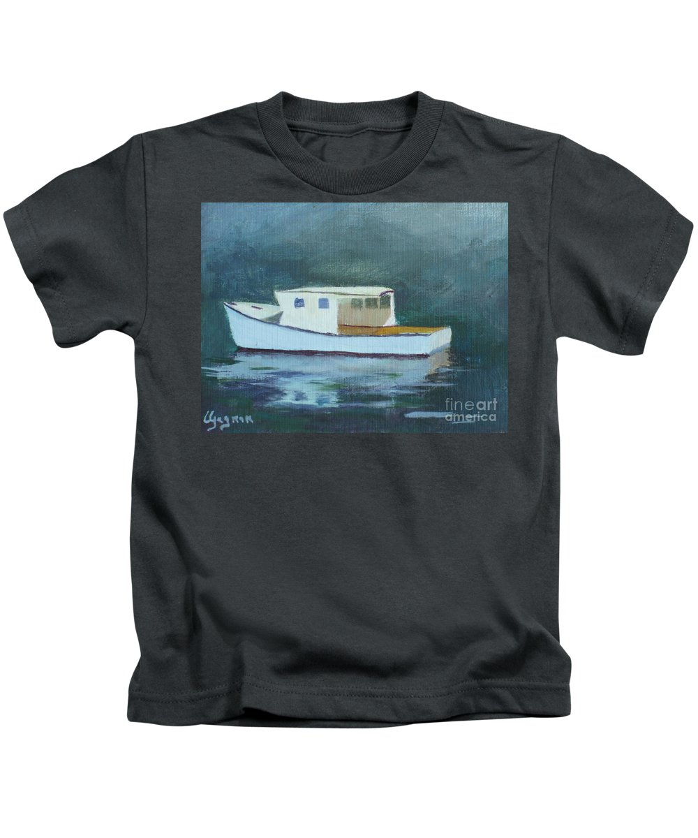Gloucester Harbor Kids T-Shirt featuring the painting Captain Tom by Claire Gagnon
