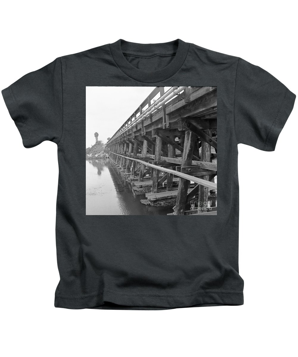 Train Kids T-Shirt featuring the photograph Cardiff Trestles by Daniel Knighton