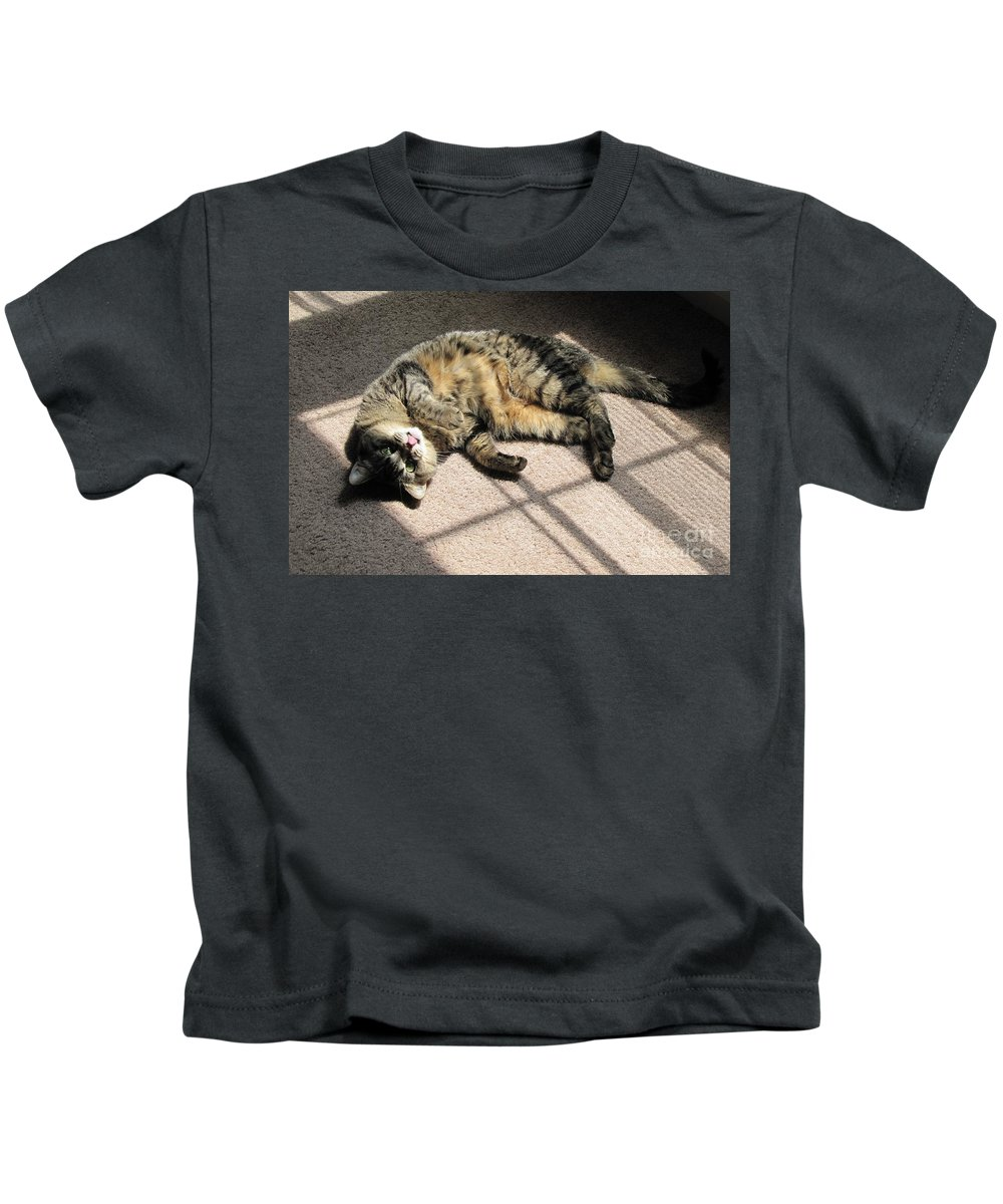 Cat Kids T-Shirt featuring the photograph Cat Got Your Tongue by Michelle Powell