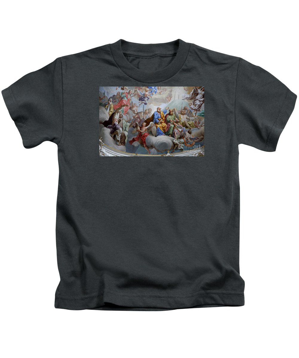 Ceiling Fresco Kids T-Shirt featuring the photograph Ceiling Fresco - Karls Church by Christiane Schulze Art And Photography