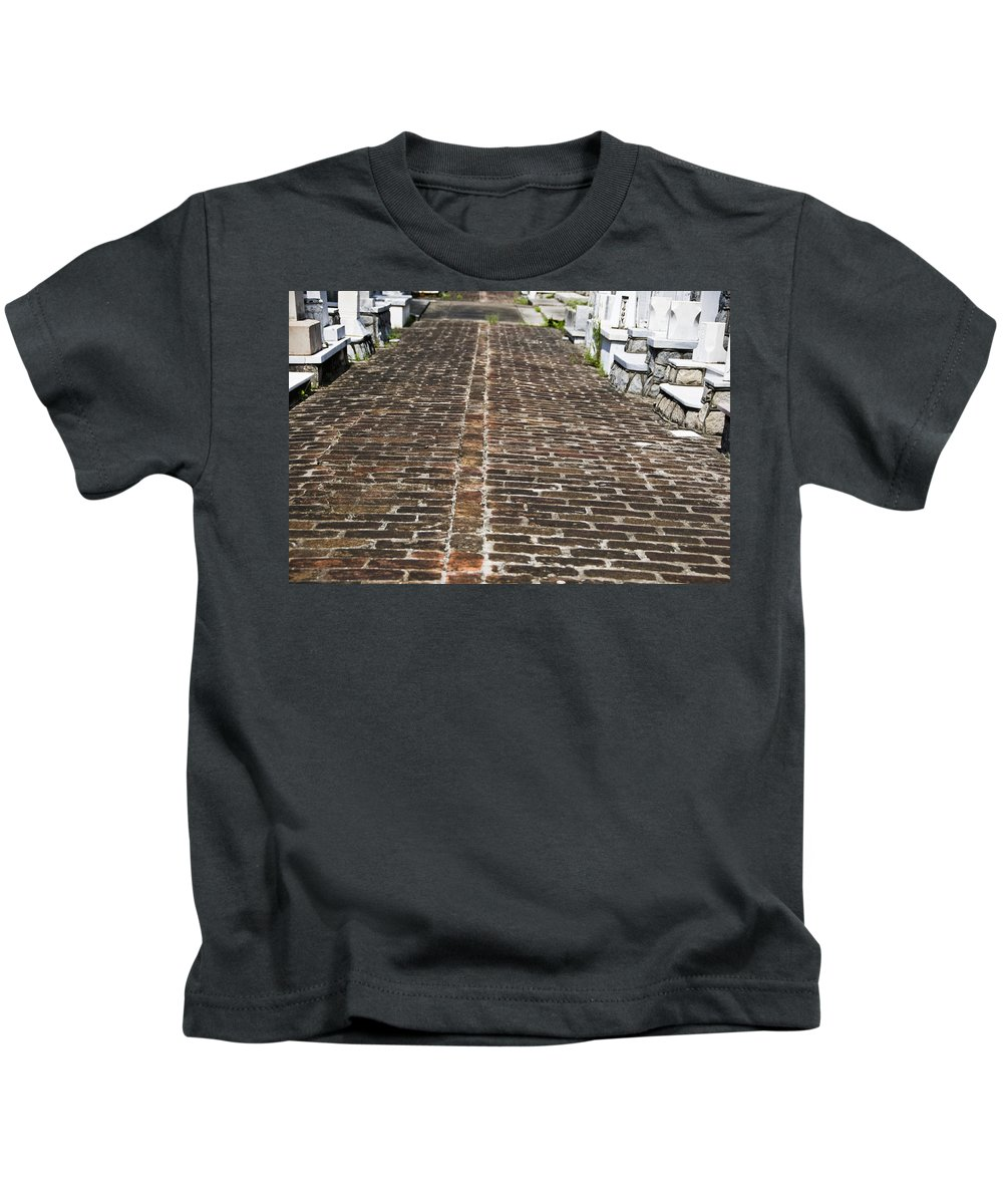 Architectural Art Kids T-Shirt featuring the photograph Cemetary Path by Ray Laskowitz