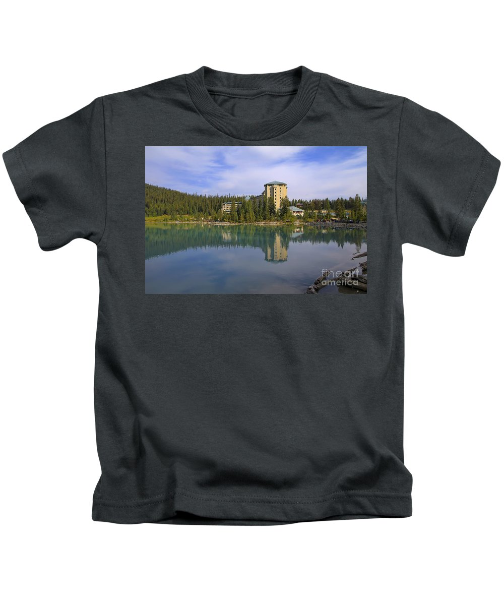 Lake Louise Kids T-Shirt featuring the photograph Chateau Lake Louise by Teresa Zieba