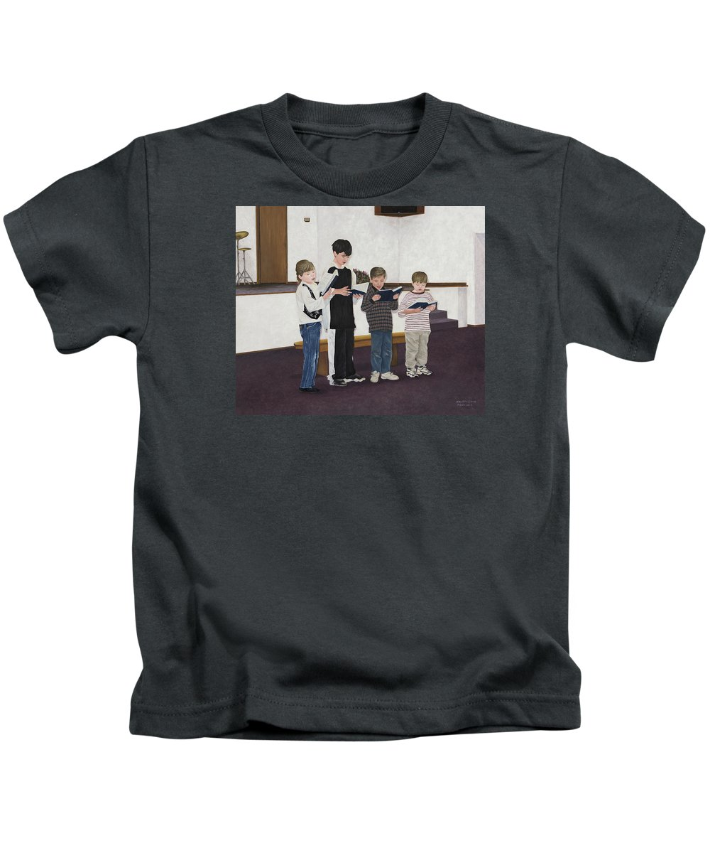 Children Paintings Kids T-Shirt featuring the painting Children Sing Praise by Mary Ann King