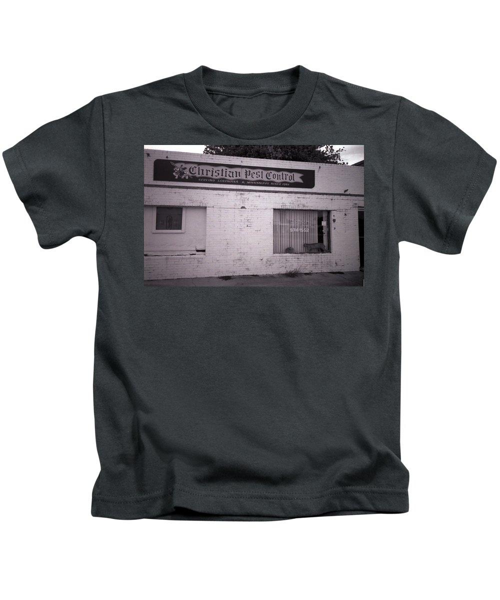 Louisiana Kids T-Shirt featuring the photograph Christian Pest Control by Doug Duffey