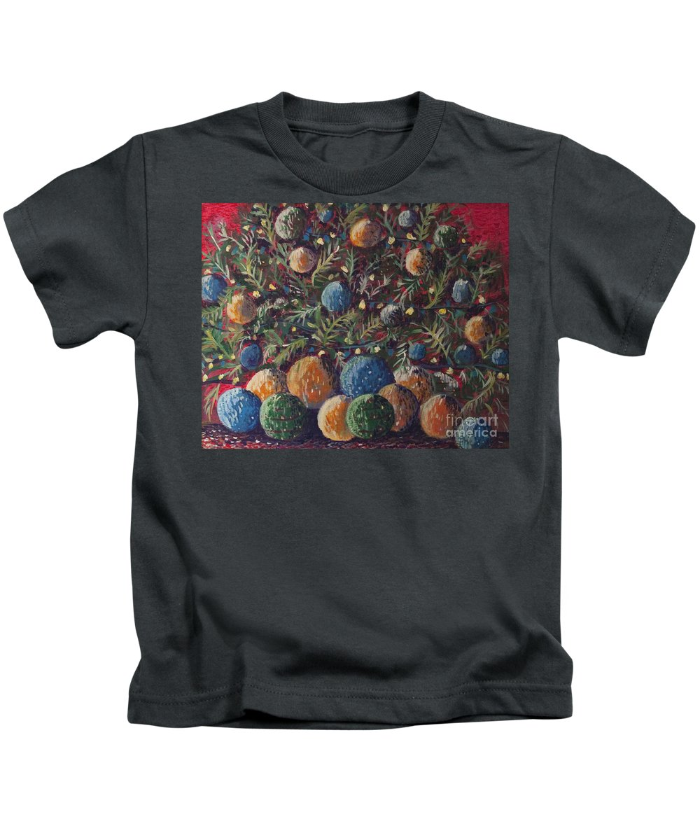 Christmas Kids T-Shirt featuring the painting Christmas Cheer by Dinah Anaya