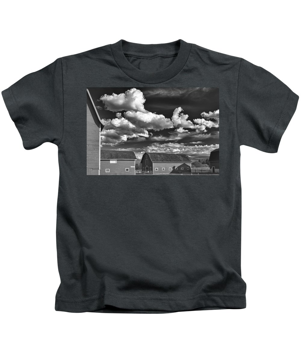 Barn Kids T-Shirt featuring the photograph Clouds Over Knox 13804b by Guy Whiteley