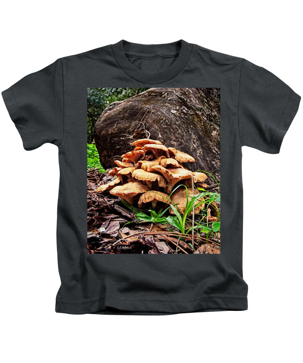 Fungus Kids T-Shirt featuring the photograph Cluster Fungus by Christopher Holmes