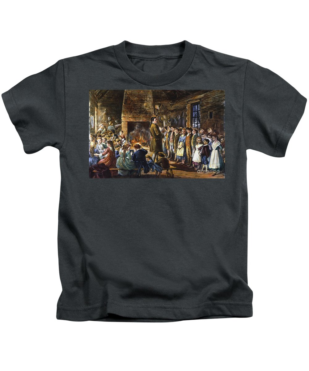 18th Century Kids T-Shirt featuring the drawing Colonial Schoolhouse by Granger
