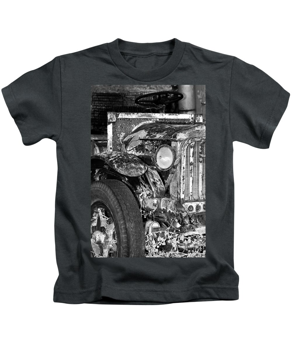 Car Kids T-Shirt featuring the photograph Colorful Vintage Car In Black And White by Phyllis Denton