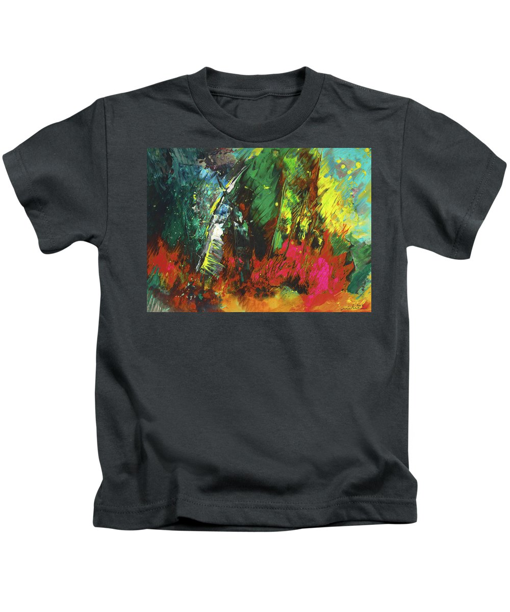 Abstract Kids T-Shirt featuring the painting Colours Symphony by Miki De Goodaboom