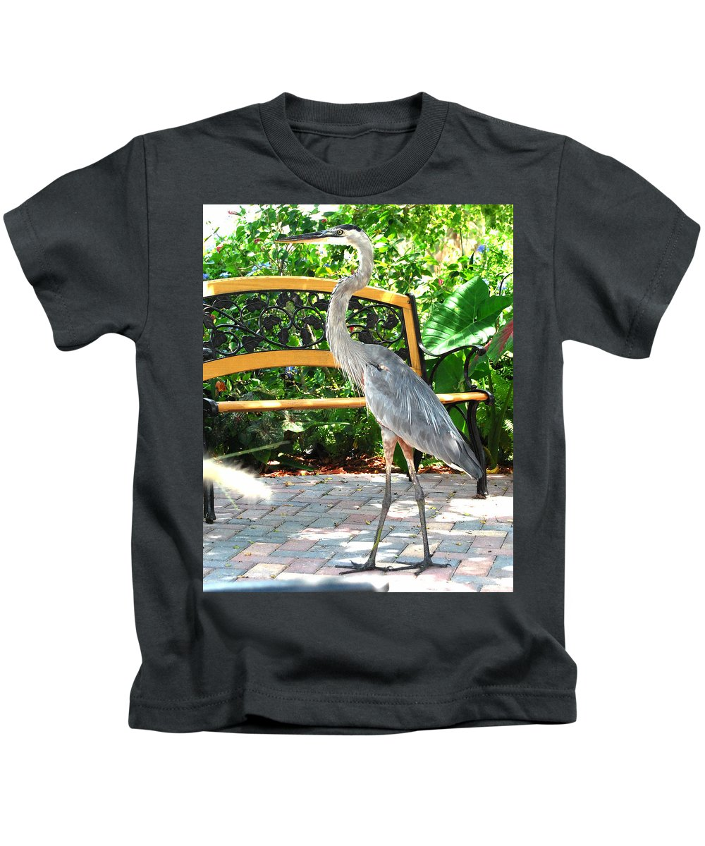 Great Blue Heron Kids T-Shirt featuring the photograph Company Cp by Jim Brage