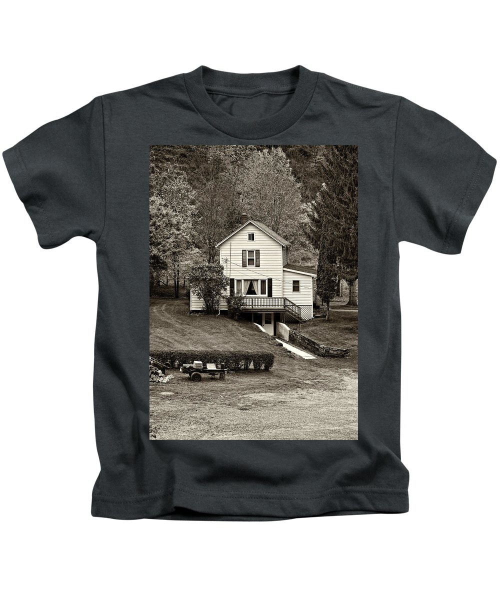 West Virginia Kids T-Shirt featuring the photograph Country Living Sepia by Steve Harrington