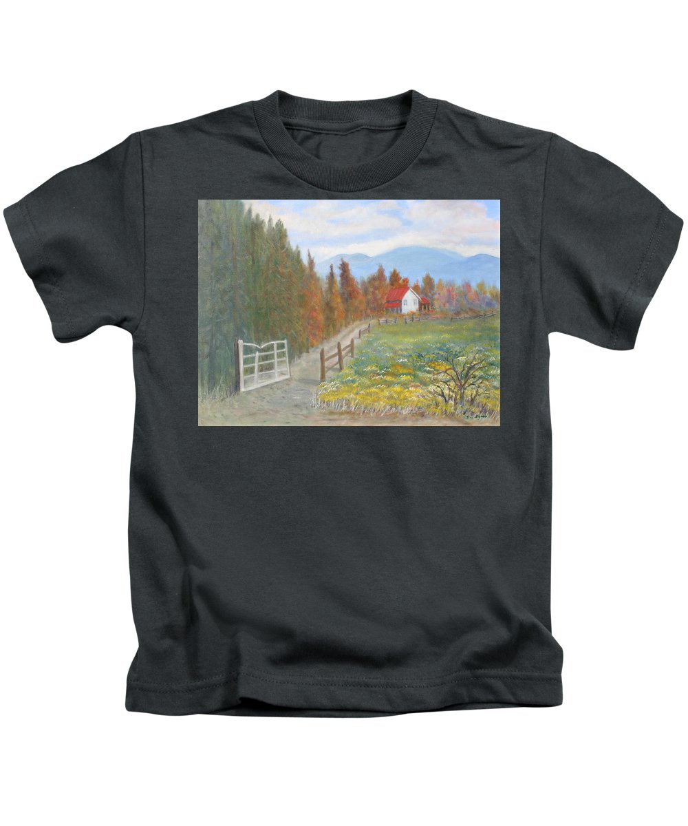 Kids T-Shirt featuring the painting Country Road by Ben Kiger