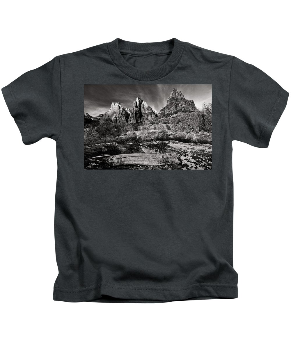 Art Kids T-Shirt featuring the photograph Court Of The Patriarchs - Bw by Christopher Holmes