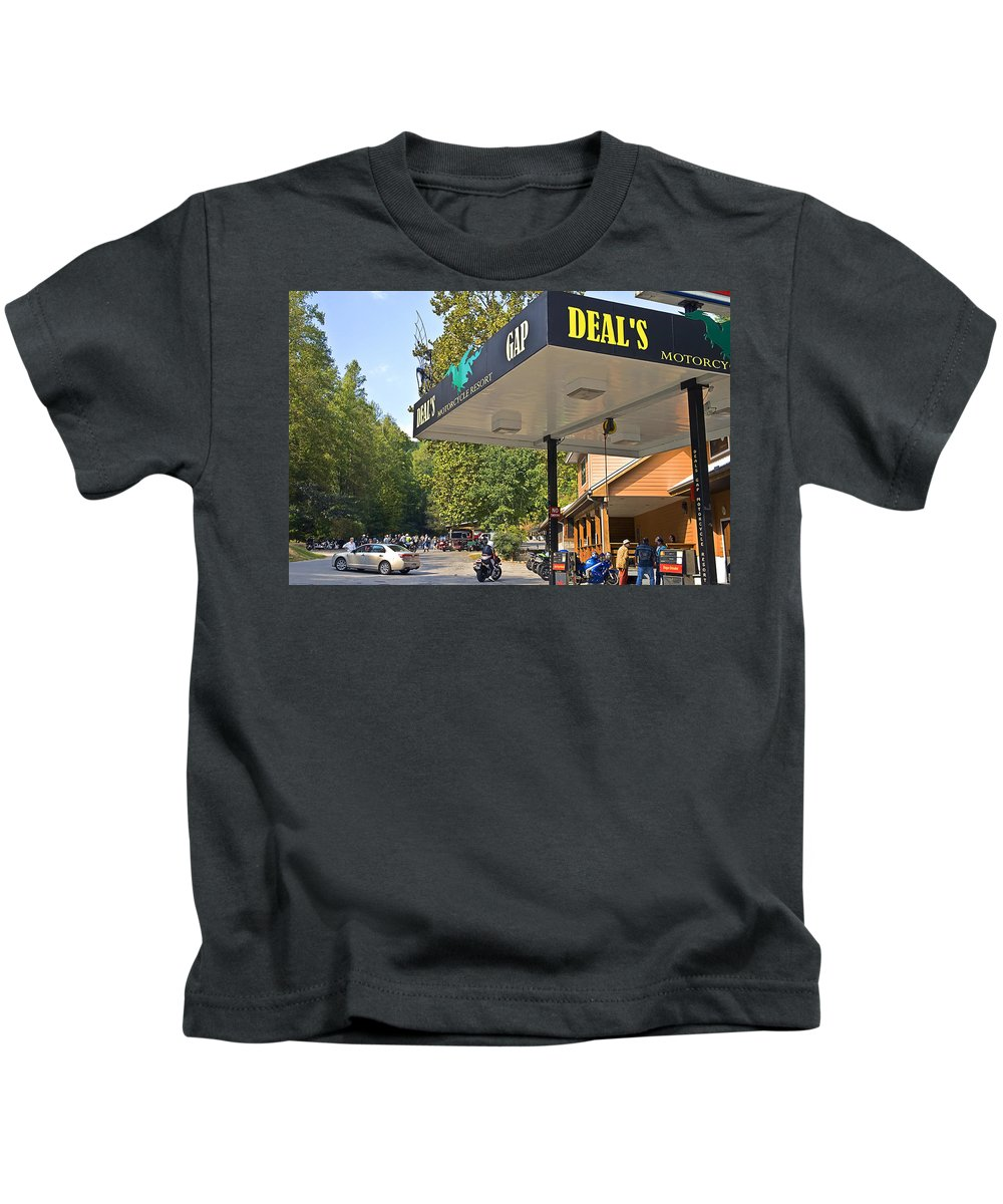 Motorcycle Kids T-Shirt featuring the photograph Deal's Gap Motorcycle Resort by Susan Leggett