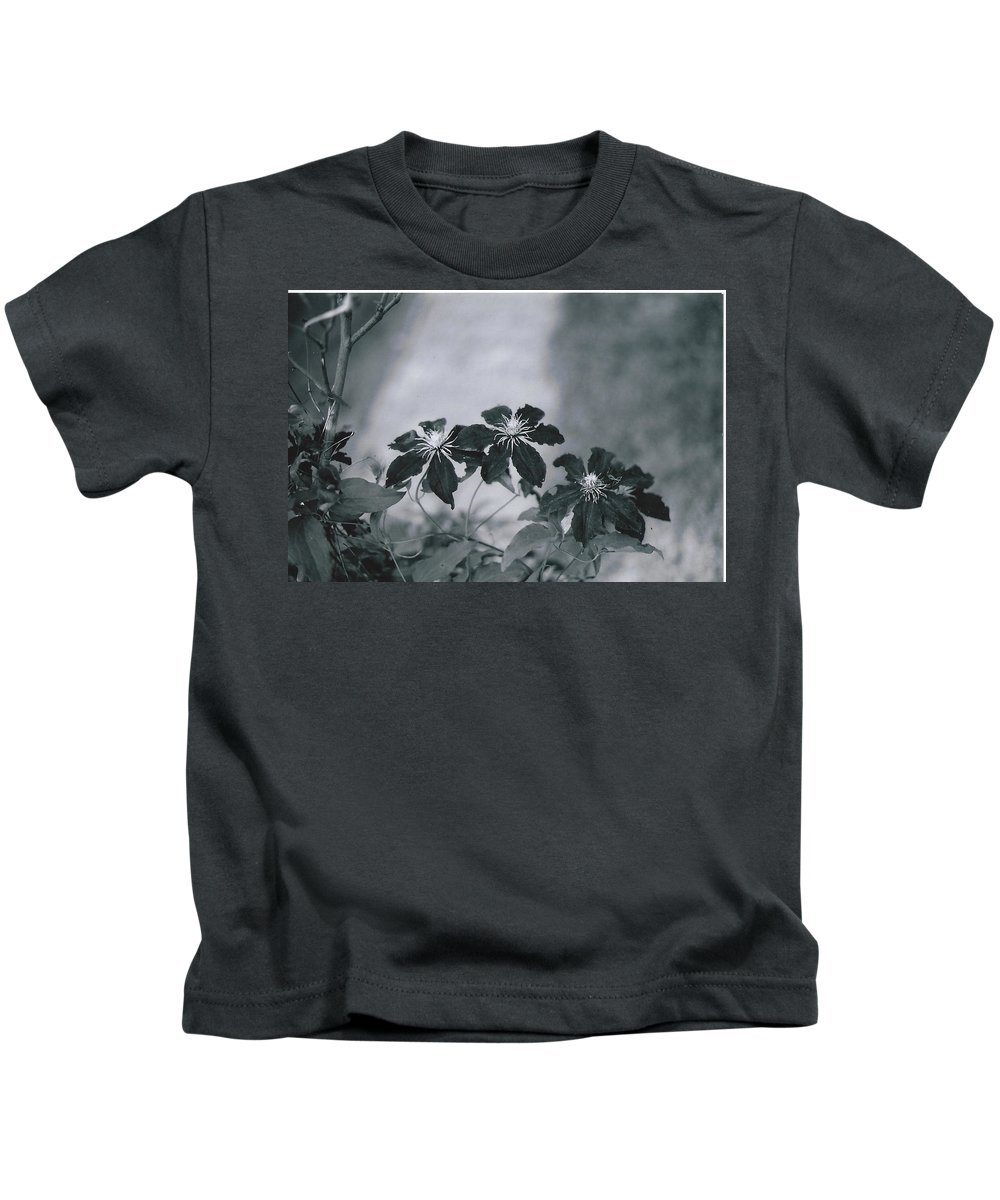 Black And White Photography Kids T-Shirt featuring the photograph Deep Purple by Catherine Conroy