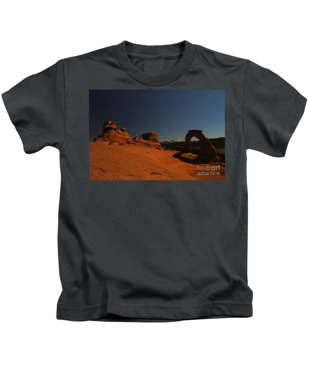 Arches National Park Kids T-Shirt featuring the photograph Delicate Moonlight by Adam Jewell