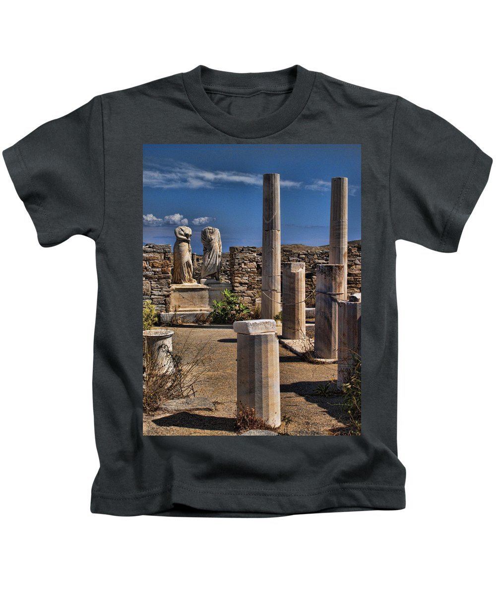 House Of Cleopatra Kids T-Shirt featuring the photograph Delos Island by David Smith