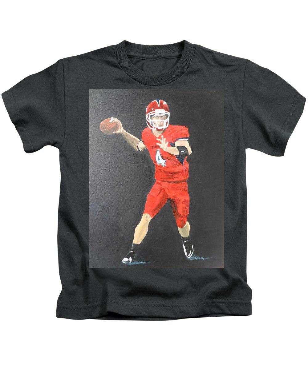 Derek Carr Kids T-Shirt featuring the painting Derek Carr by Travis Day