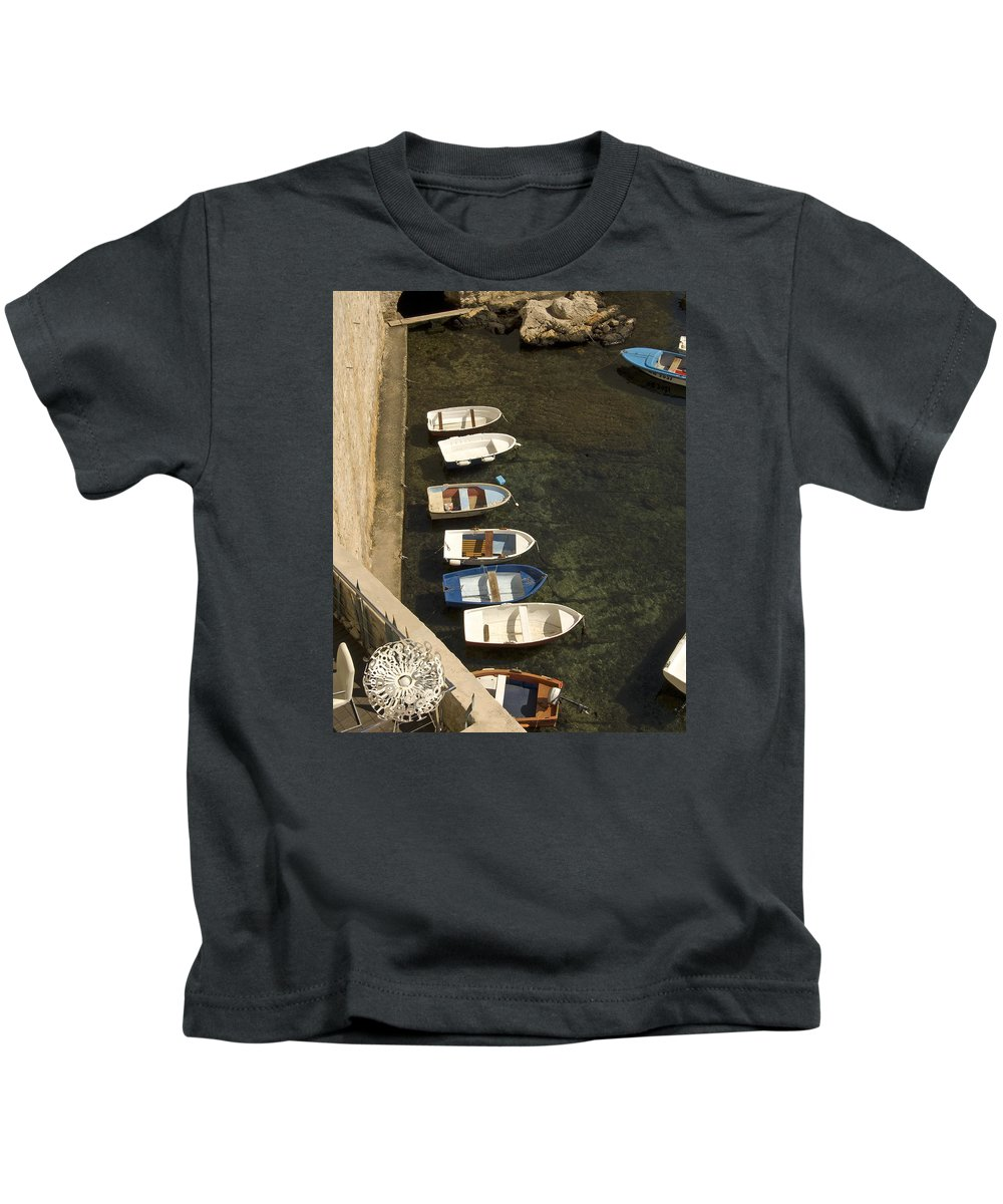 Dinghy's Kids T-Shirt featuring the photograph Dinghy's In Dubrovnik by Dave Saltonstall