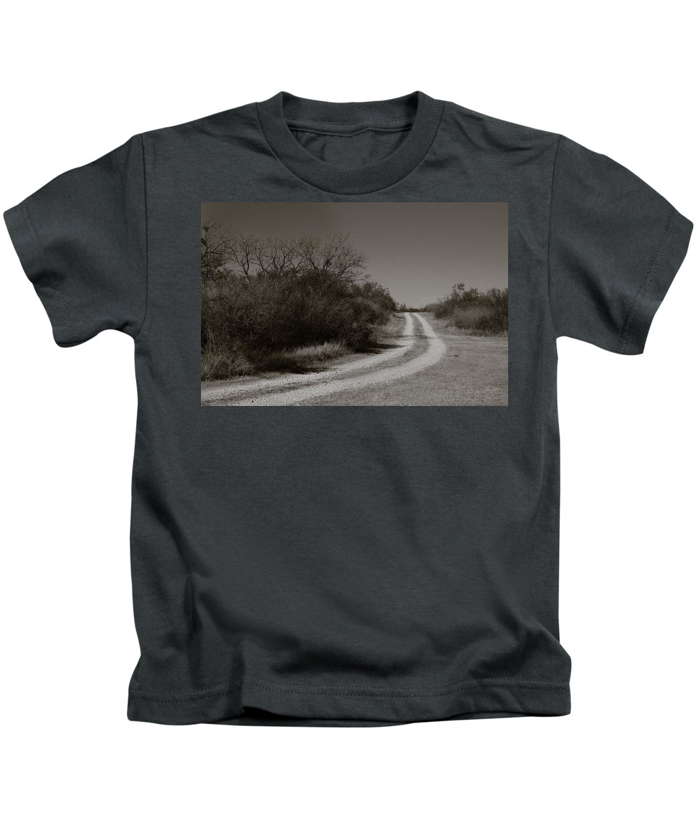 Black And White Kids T-Shirt featuring the photograph Dirt Road by Sean Wray