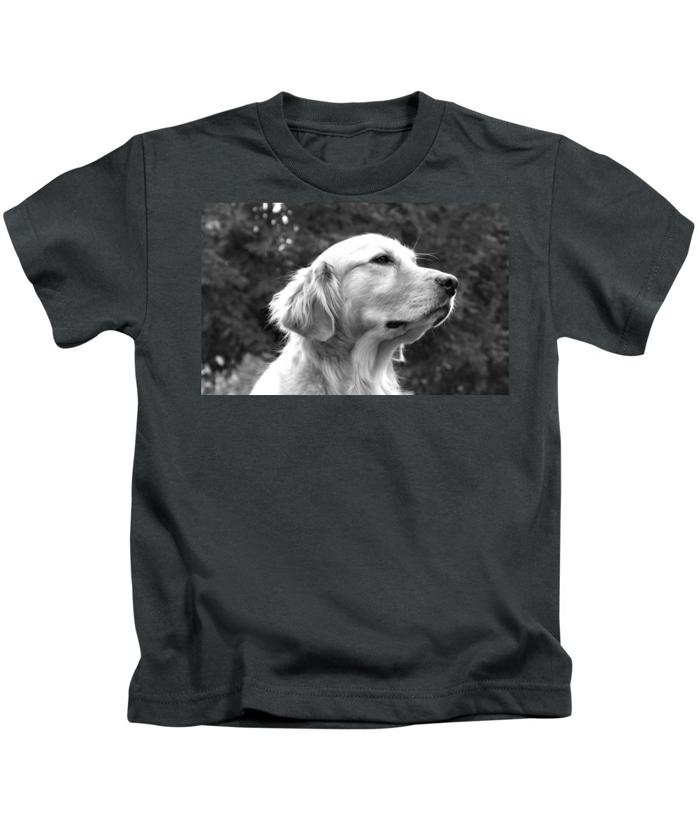 Dog Kids T-Shirt featuring the photograph Dog Black And White Portrait by Sumit Mehndiratta