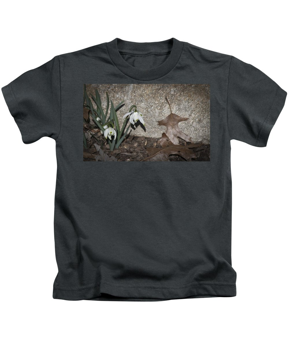 Galanthus Kids T-Shirt featuring the photograph Double Snowdrops by Teresa Mucha