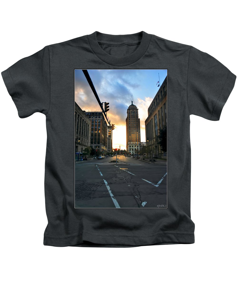 Kids T-Shirt featuring the photograph Early Morning Court Street by Michael Frank Jr