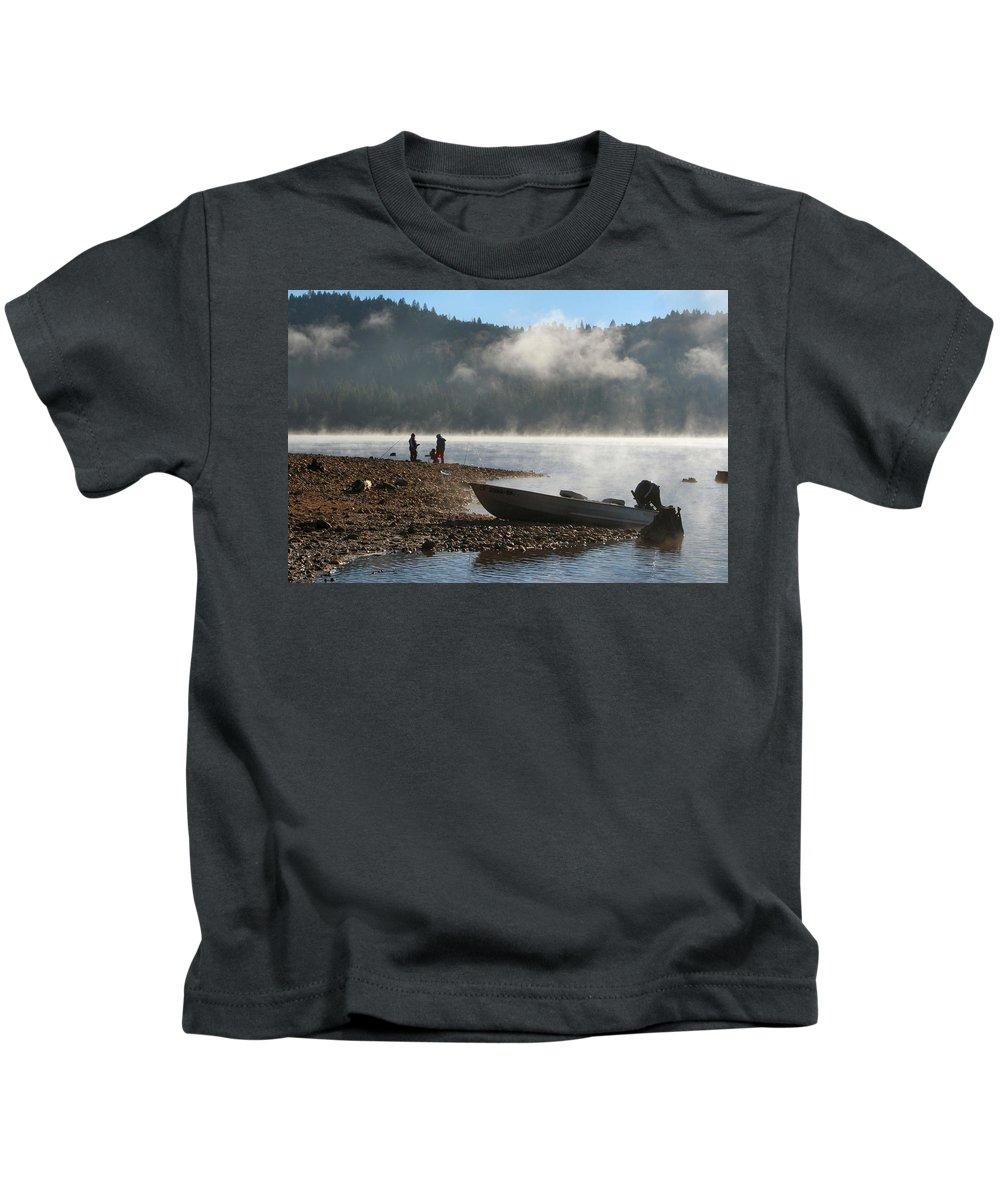 Scotts Flat Lake Kids T-Shirt featuring the photograph Early Morning Fishing On Scotts Flat Lake by Sally Bauer
