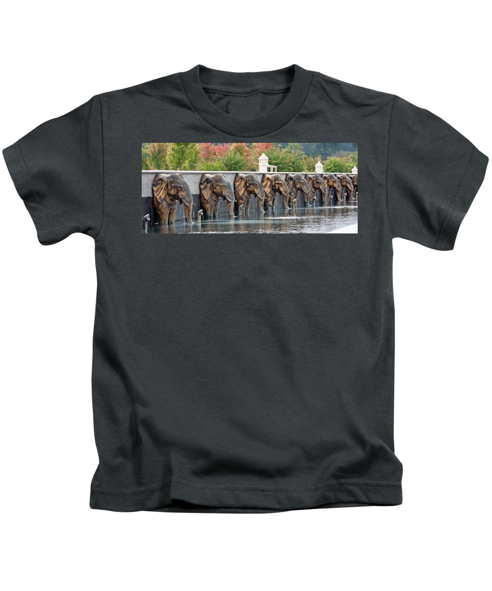 Elephants Kids T-Shirt featuring the photograph Elephants Of The Mandir by Angie Schutt