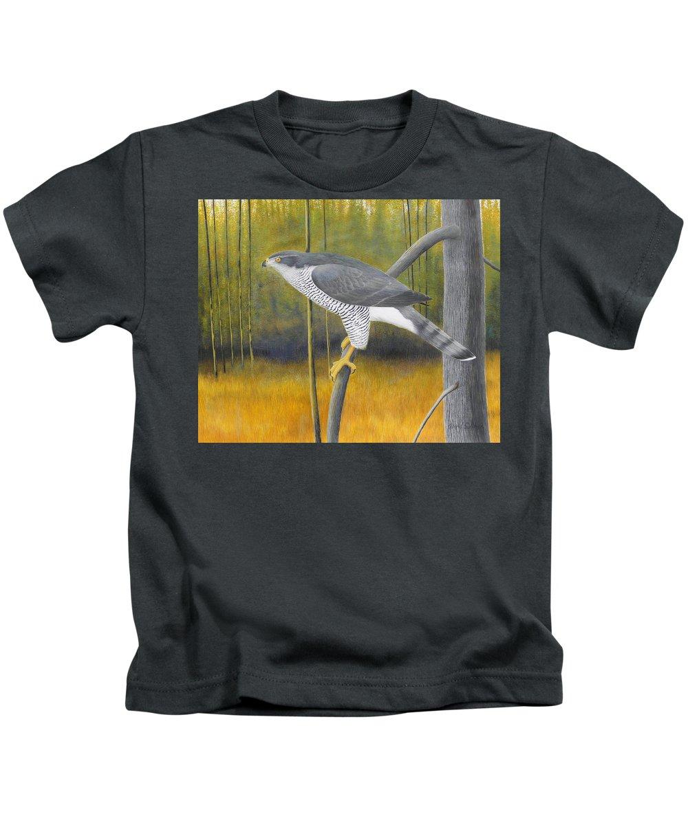 European Goshawk Kids T-Shirt featuring the painting European Goshawk by Alan Suliber