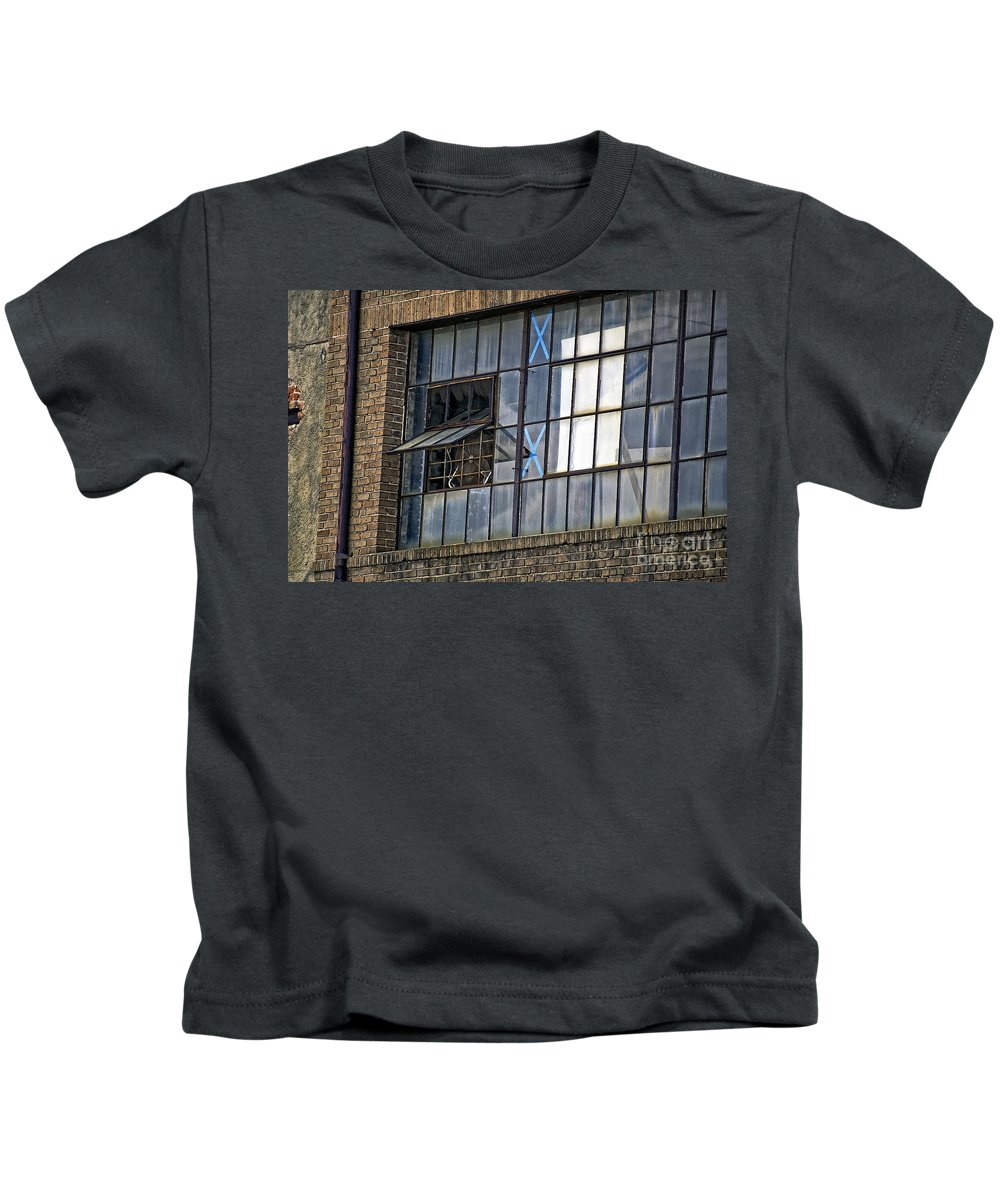 Window Kids T-Shirt featuring the photograph Factory Air In New Orleans by Kathleen K Parker