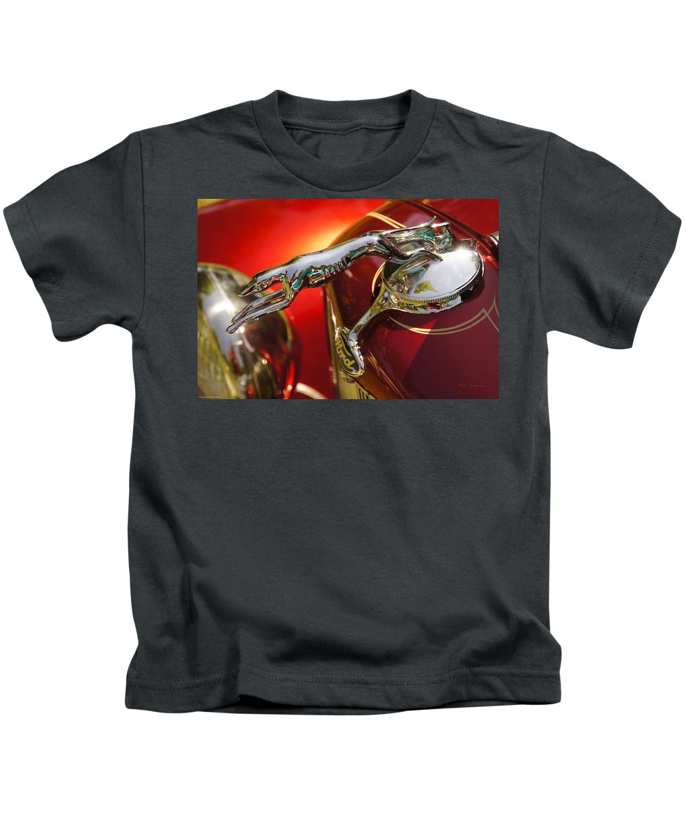 Fancy Kids T-Shirt featuring the photograph Fancy Ford Chrome Hood Ornament by Mick Anderson