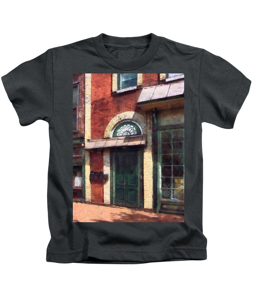 Door Kids T-Shirt featuring the photograph Fancy Green Door Burlington Nj by Susan Savad