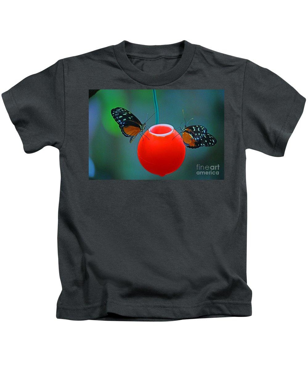 Butterfly Kids T-Shirt featuring the photograph Feeding Butterflies by Randy Harris