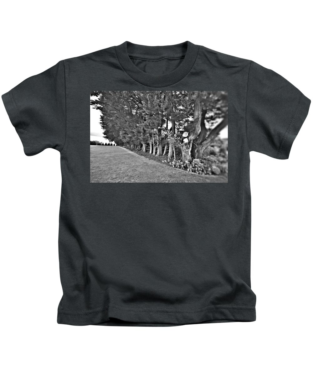 Garden Kids T-Shirt featuring the photograph Fence Of Trees by Douglas Barnard