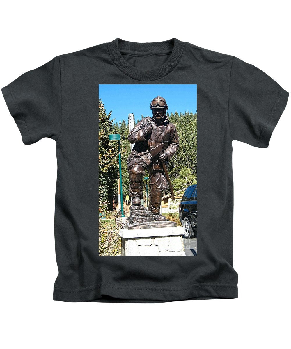 Mammoth Lakes Fire Department Kids T-Shirt featuring the photograph Firefighter Tribute by Tommy Anderson