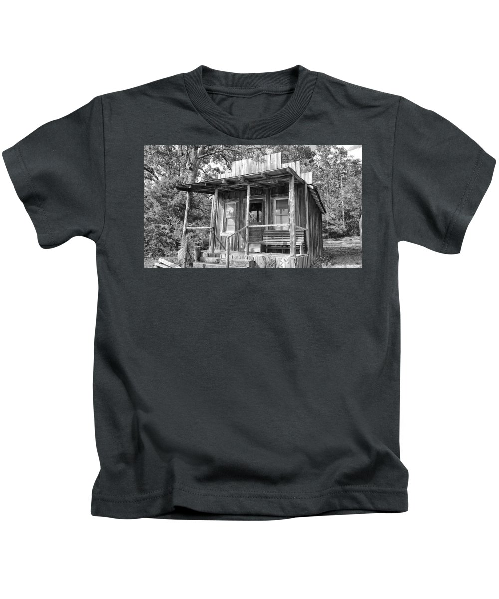 Fireman Cottage -ouachita Mountains Kids T-Shirt featuring the photograph Fireman Cottage B And W by Douglas Barnard