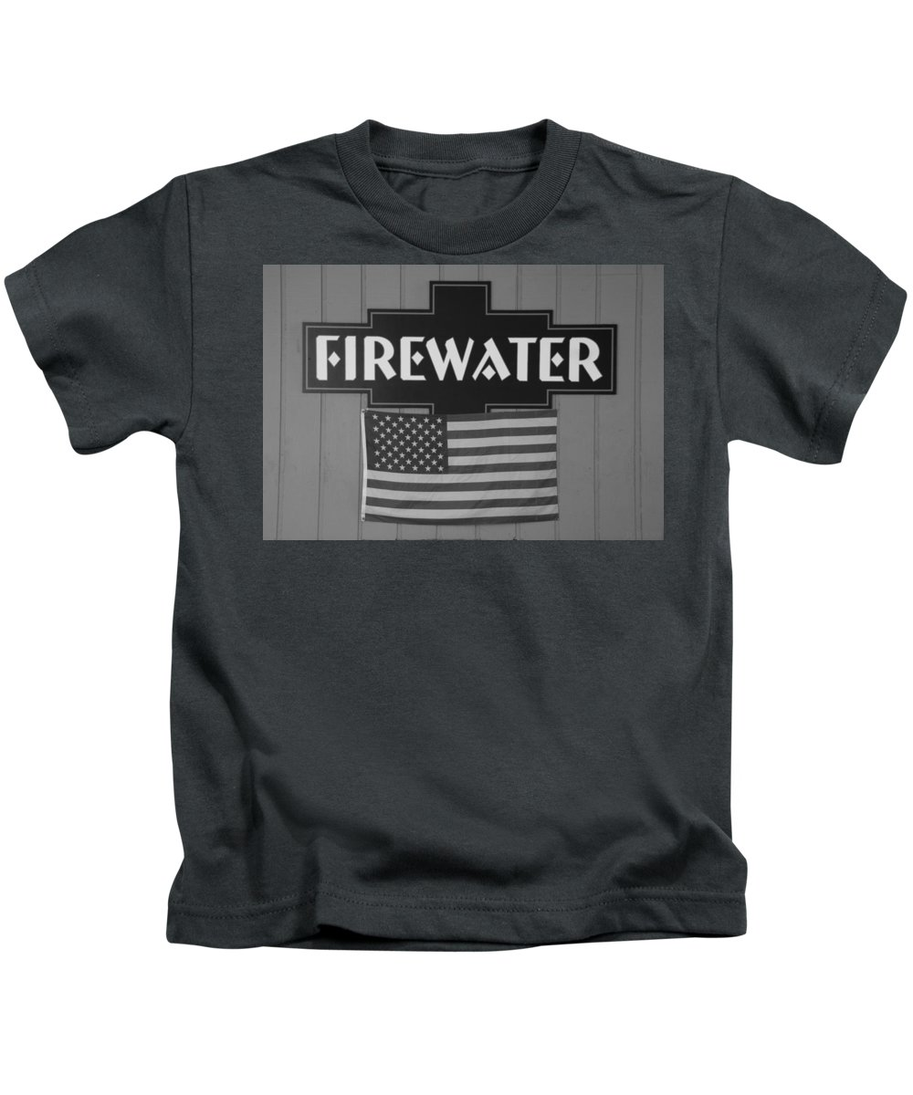 Fire Kids T-Shirt featuring the photograph Firewater In Black And White by Rob Hans